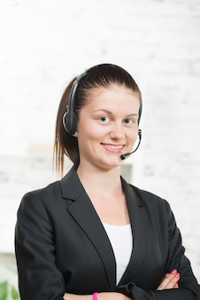 Pretty young woman with a headset