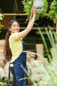 Pretty young woman working at gardening center and checking hanging plants