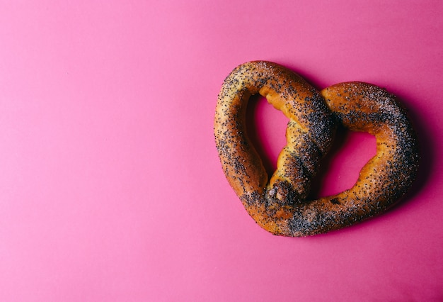 Pretzel on the table background