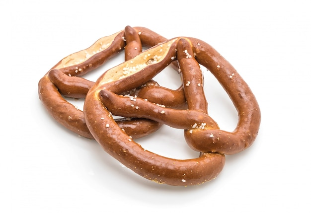Pretzel on white background