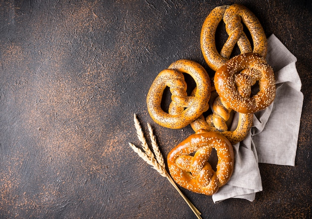 Pretzels, traditional festive bavarian bakery