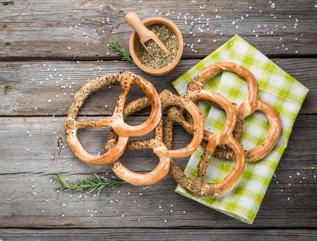 Pretzels on wooden board