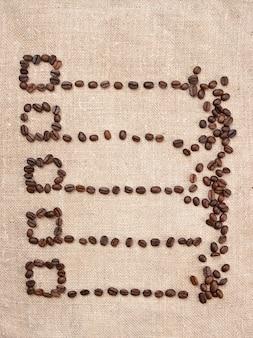 Прайс-лист из кофейных зерен на холсте