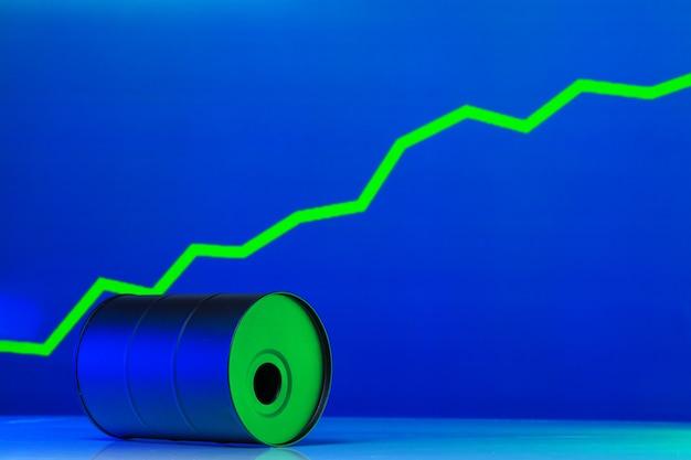 Цена на американскую нефть меняет концепцию. черная бочка с маслом и график на темно-синем