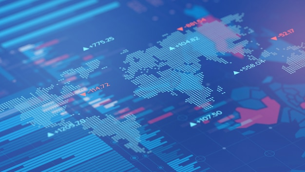 Price stock market and world digital map background