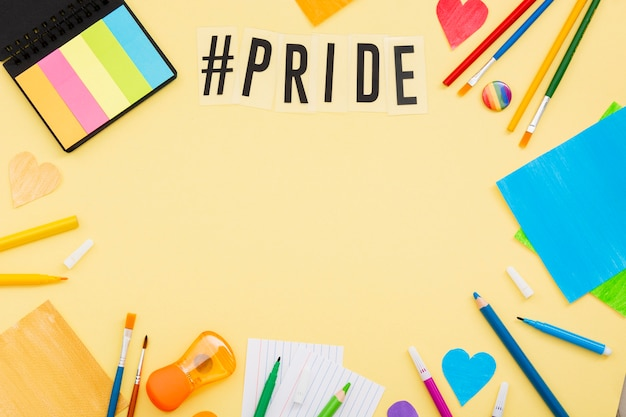 Pride day concept copy space stationery items