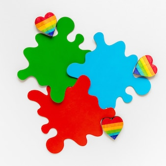 Pride day rainbow hearts
