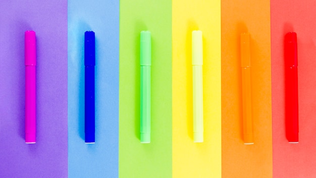 Pride flag with colorful felt-tip pen
