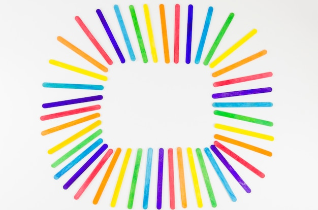Pride flag with colorful sticks
