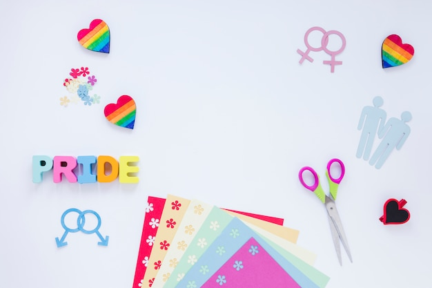 Pride inscription with homosexual couples icons and rainbow hearts