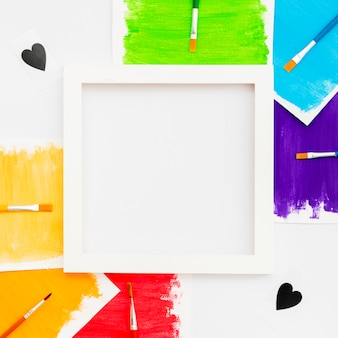 Pride lgbt society day frame and brushes