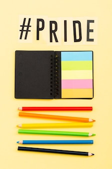 Pride lgbt society day post-it notes and pencils