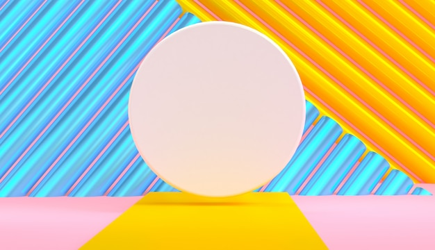 Primitive geometric shapes abstract background, pastel colors, 3d render.