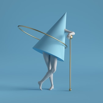 Primitive geometric shapes golden ring, cone, white standing legs isolated on blue background.
