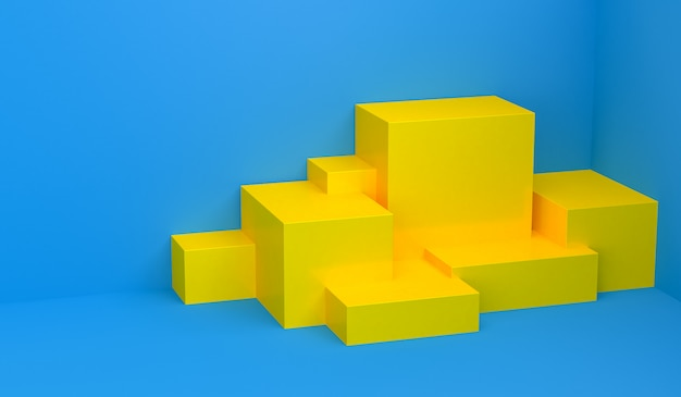 Primitive geometrical figures, 3d render, podium for the advertized goods