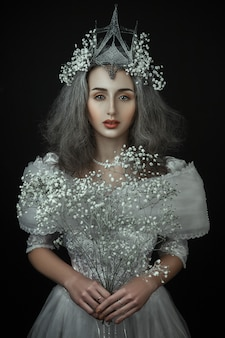 Princess with white flowers