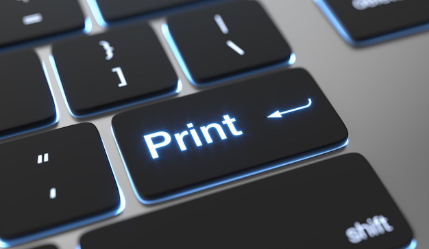 Print background. print text on keyboard button.