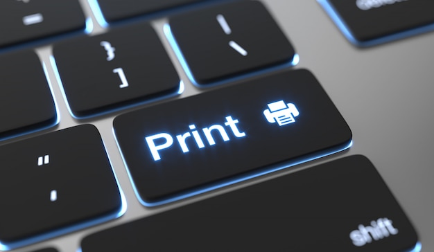 Print concept. print text on keyboard button.
