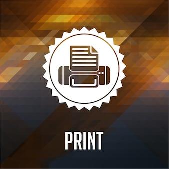 인쇄 개념. 레트로 라벨 디자인. 삼각형, 색상 흐름 효과로 만든 소식통.