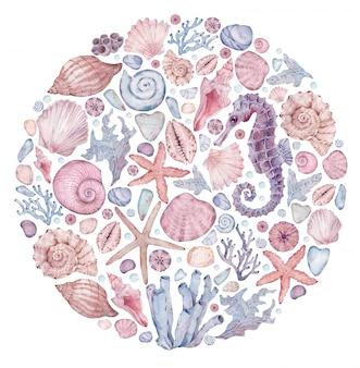 Print with watercolor marine motifs. hand-drawn circle illustration with seahorse, starfish, seashells, corals, seaweed.