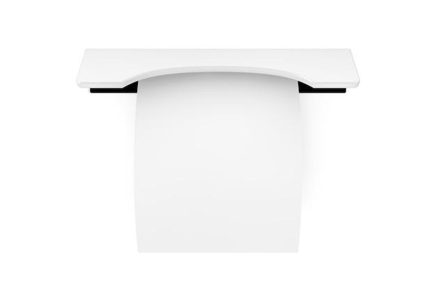 白い背景に印刷された空白のショッピング紙紙幣レシートatmモックアップ。 3dレンダリング