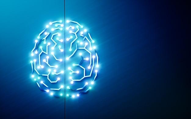 プリント回路の頭脳。人工知能、深層学習、機械学習、青い背景のスマート自律ロボット技術の概念。テキストメッセージに適しています。 3dレンダリング