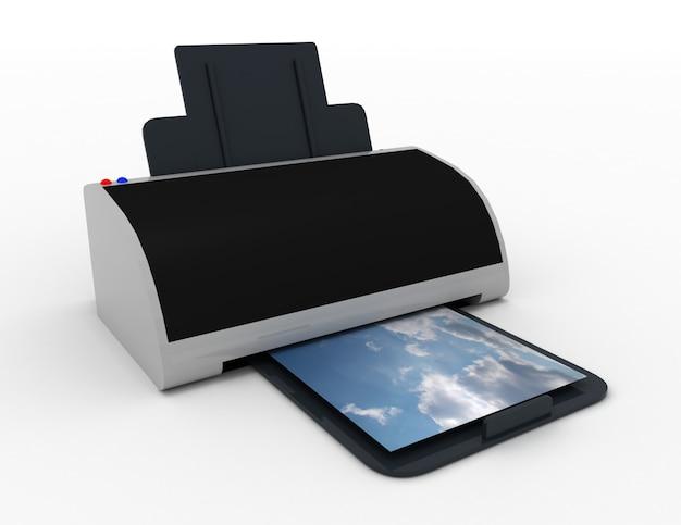프린터 3d. 사진 인쇄. 3d 렌더링된 그림
