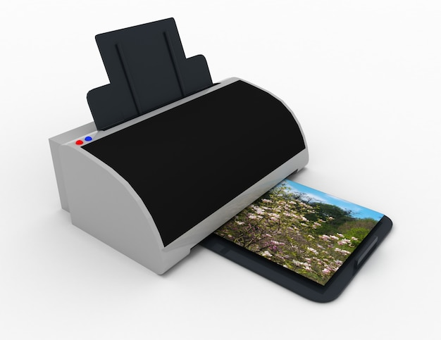 Printer 3d. print of photos. 3d rendered illustraion
