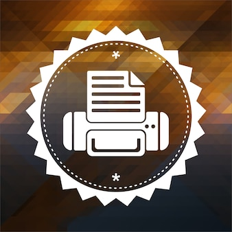 Printer icon. retro label design. hipster background made of triangles, color flow effect.