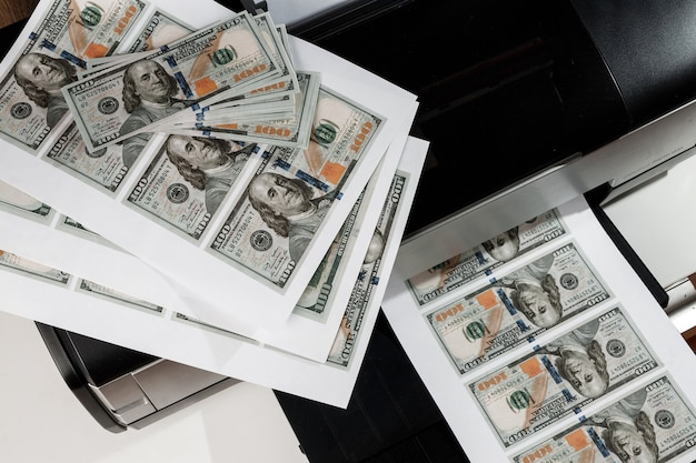 Printer and printed us dollars, counterfeit banknotes, currency counterfeiting