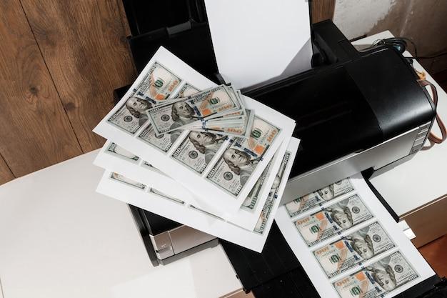 Printer and printed us dollars