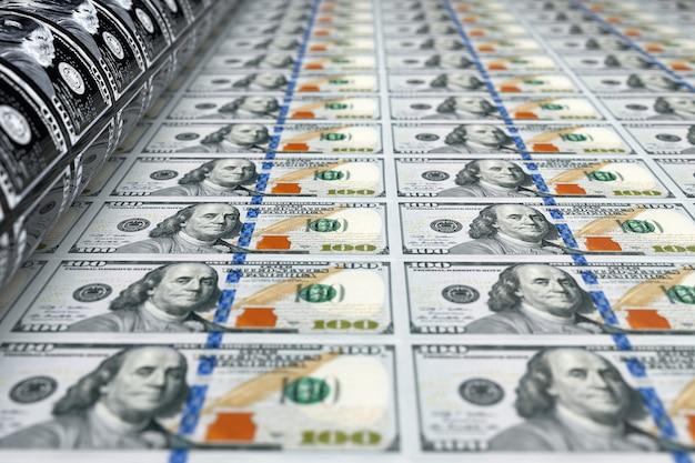 Печать денег 100 долларовых банкнот крайний крупный план. 3d рендеринг