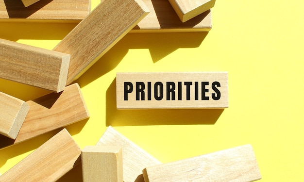 Priorities text written on a wooden block with more around on a yellow background