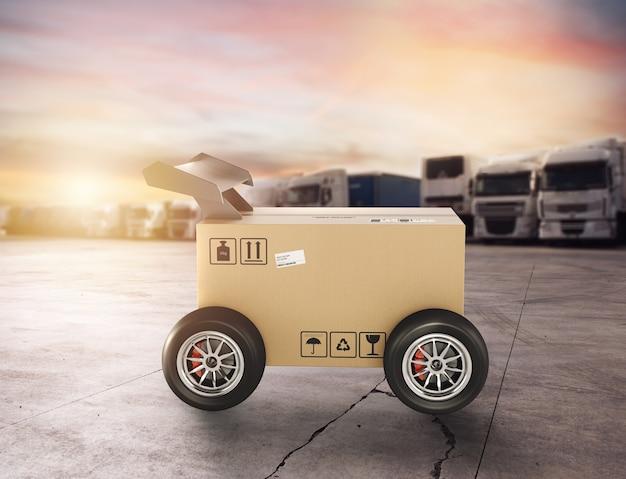 자동차와 같은 레이싱 휠이있는 우선 순위 판지 상자. 도로로 빠른 배송.
