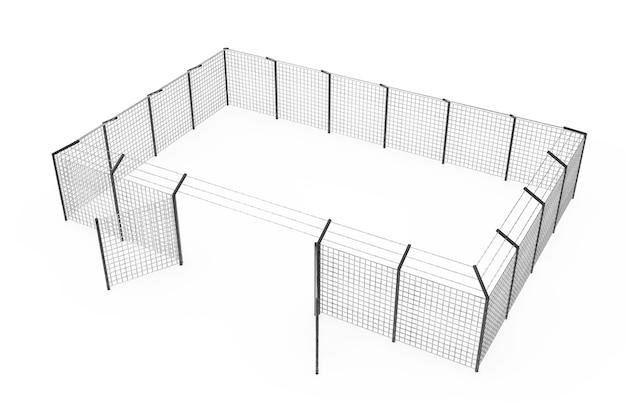 흰색 배경에 보안 경계로 감옥 감옥 울타리. 3d 렌더링