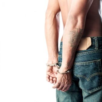 Prisoner locked in handcuffs