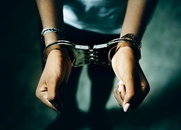 Prisoner with handcuffs on hands