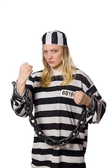 Prisoner woman isolated