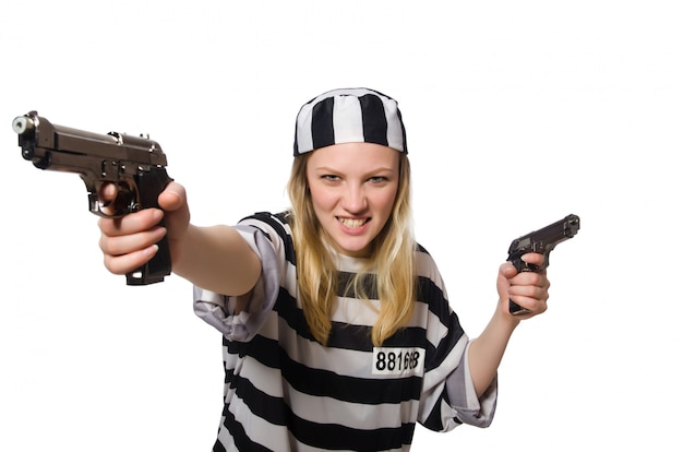 Prisoner woman with guns isolated