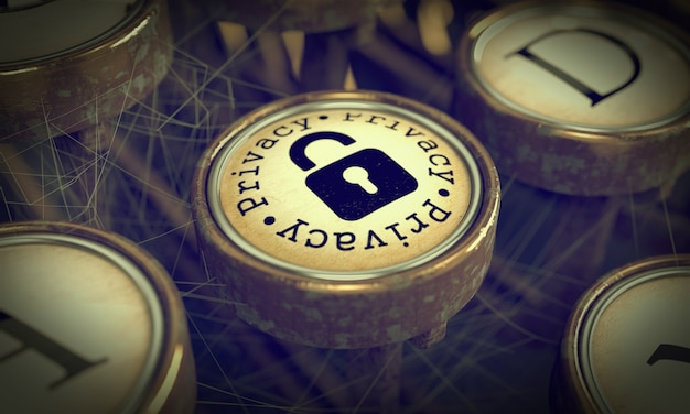 Privacy button with padlock icon on old typewriter. grunge background for your publications. 3d render.