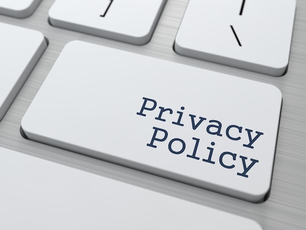 Privacy policy text button on modern computer keyboard