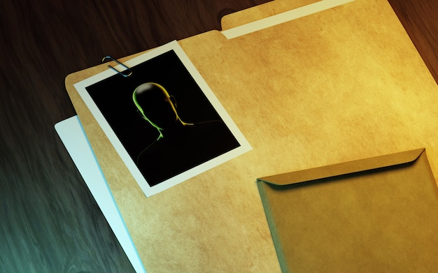 Private investigator desk. 3d illustration