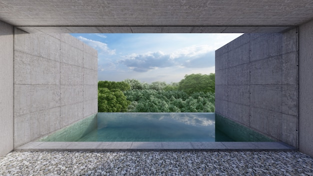 Private pool, view from room unit, bare cement style. 3d rendering