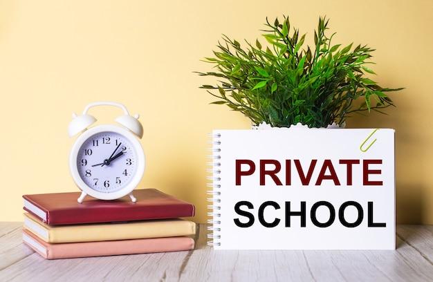 Частная школа написана в тетради рядом с зеленым растением и белым будильником, который стоит на красочных дневниках.