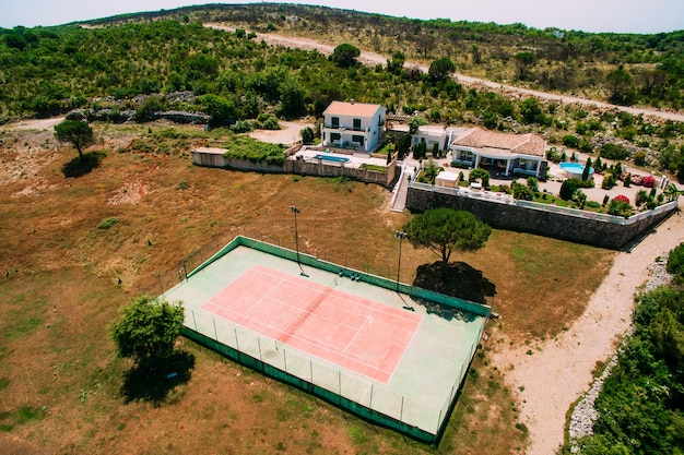 The private tennis court at the villa by the sea montenegro