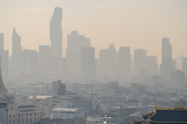 Problem air pollution at hazardous levels with pm 2.5 dust, smog or haze, low visibility in bangkok city ,thailand