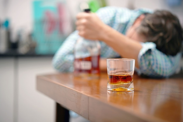 The problem of family drinking. the concept of drunkenness and alcoholism. alcoholic father