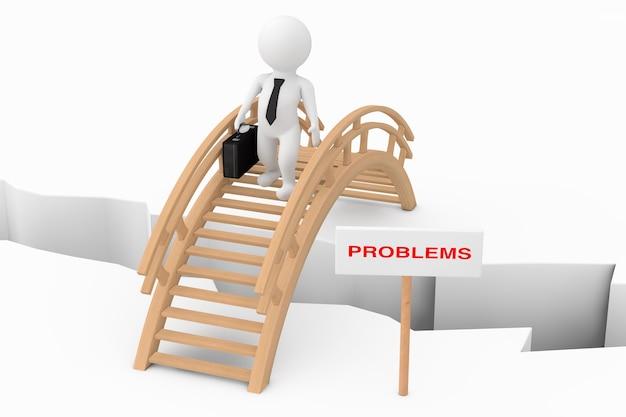 Концепция решения проблем. бизнесмен человека 3d пересекая мост с знаком проблемы на белой предпосылке. 3d рендеринг