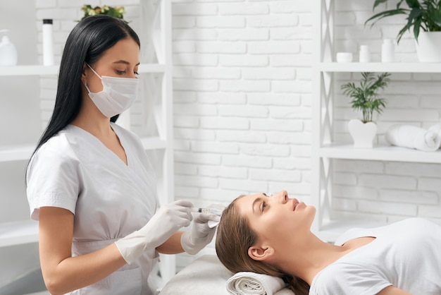 Procedure for improvements growth hair in beauty salon