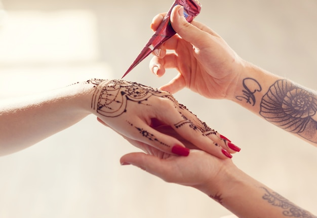 Process of applying mehndi on female hands